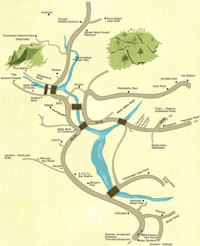 Munnar Tourist Map Kerala Tourism and Travel Blog – Tourist Map of Kerala