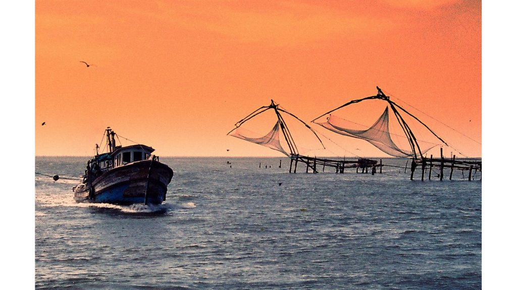 A boat near Chinese Fishing Nets in Fort Kochi