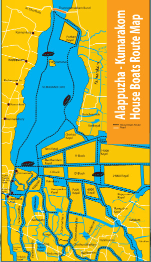 Map of Kerala Backwaters