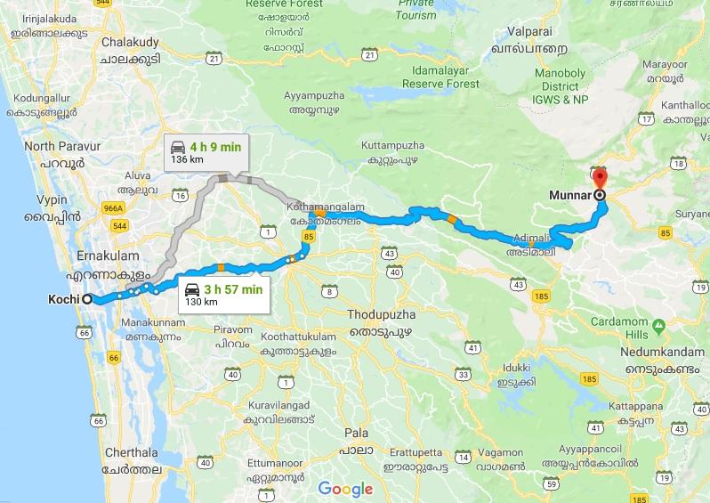 Cochin-Munnar-Route-Map