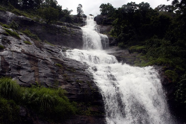 Cheeyapara waterfalls flows down in seven steps making a great view from the road