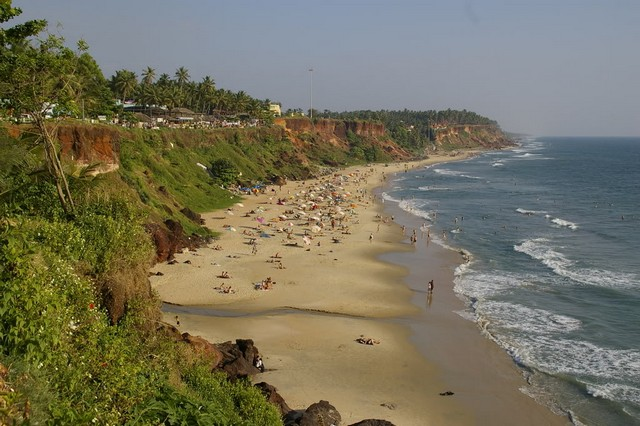 Varkala is among the best beaches in India with sea on one side and a high cliff on other side
