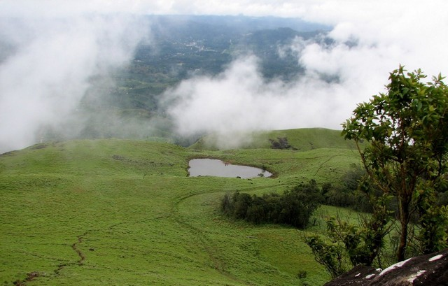 A heart shaped lake on the way to the top of the Chembara peak is a major tourist attraction in Wayanad