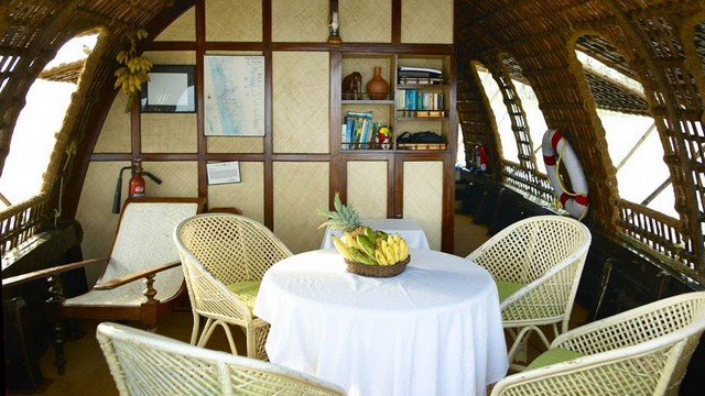 Dining Area inside a Kerala Houseboat