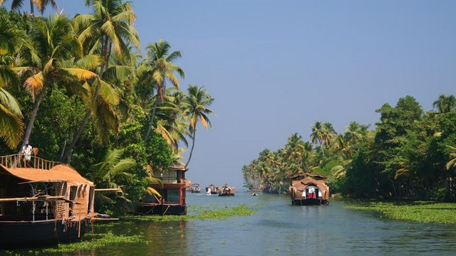 Kerala Houseboat Cruise through blue serenity of vast expanses of water in backwaters.