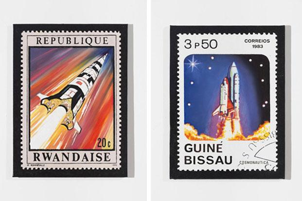 French-Algerian artist Kader Attia's Independence Disillusionment (2014), a series of 26 paintings depicting stamps from African and Middle-East countries. Exploring the legacy of colonialism, Attia's stamps show images of space shuttles and moon landings, reflecting their utopian dreams.