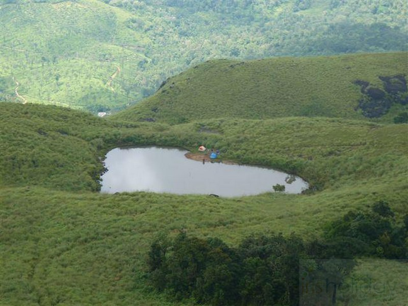 Heart shaped honeymoon lake in Chembra Peak