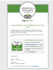 Two Years in a Row ! - Iris Holidays is the winner of TripAdvisor Certificate of Excellence 2015