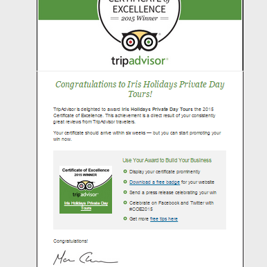 Two Years in a Row ! – Iris Holidays is the winner of TripAdvisor Certificate of Excellence 2015