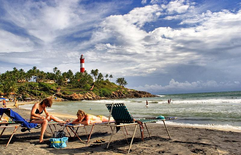 Sunbathing in beaches in Kerala