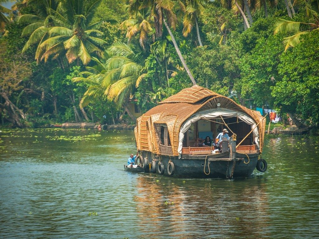 A Houseboat in Alleppey Backwaters of Kerala, India