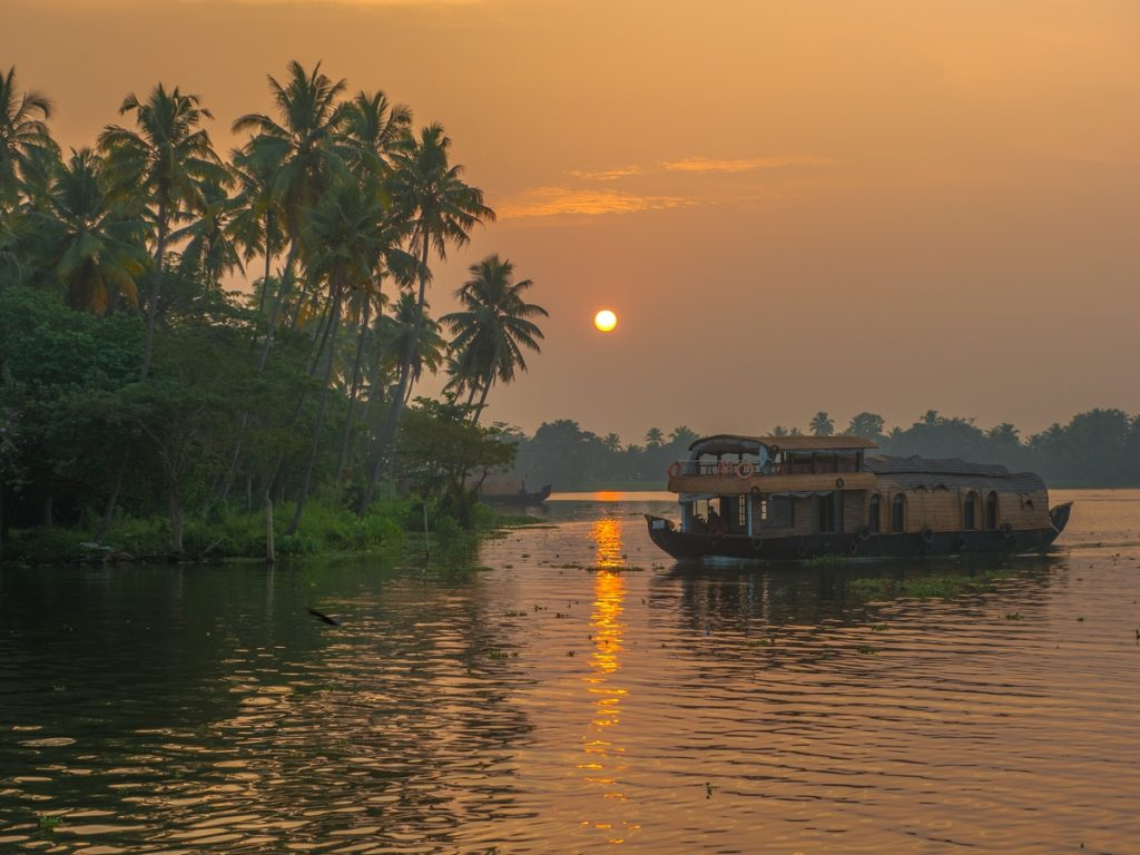 Ashtamdui Backwaters of Kerala at sunrise, India