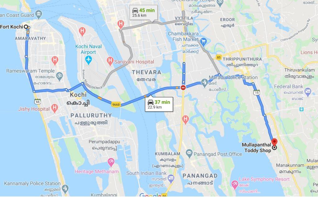 Mullapanthal Toddy Shop Map