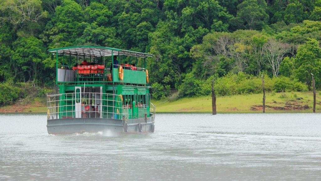 A boat cruise on Periyar Lake in Periyar National Park and Wildlife Sanctuary, Thekkady, Kerala, India